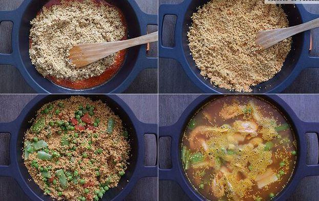 preparación paella de quinoa